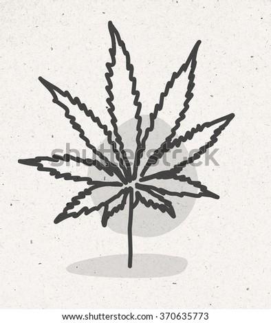 cartoon cannabis leaf - stock photo