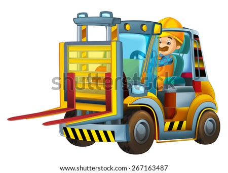 Cartoon car - forklift - isolated - illustration for the children - stock photo