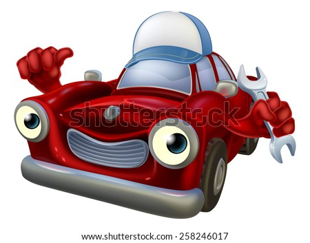 Cartoon car mechanic man wearing a blue cap doing a thumbs up and holding a spanner - stock photo