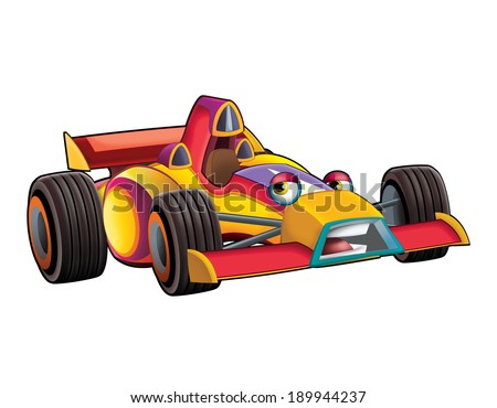 Cartoon car - track racing vehicle - illustration for the children - stock photo
