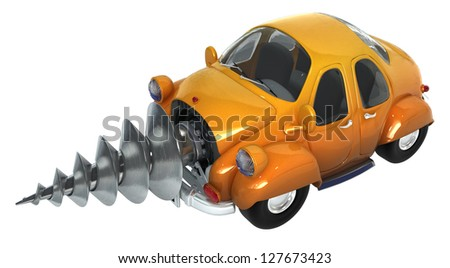 Cartoon car with a drill mechanism in front, 3d - stock photo