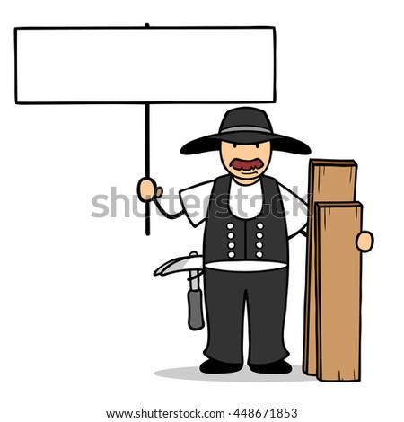 Cartoon carpenter holding up a blank sign - stock photo