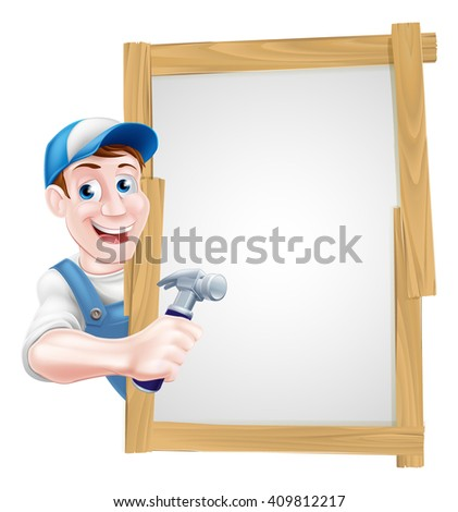 Cartoon carpenter or builder holding a hammer tool and peeking around a sign - stock photo