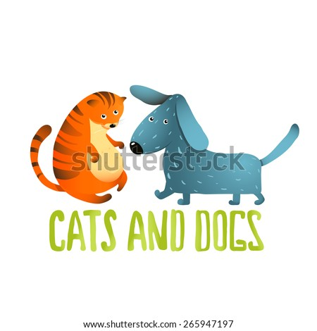 Cartoon Cat and Dog Kids Friendship. Cartoon cat and dog on a white background. Raster variant. - stock photo