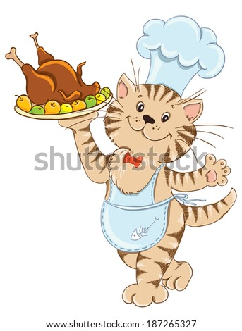 Funny Cat With Chefs Hat And Turkey Images