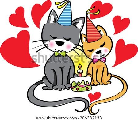 Cartoon cats fall in love at birthday - stock photo