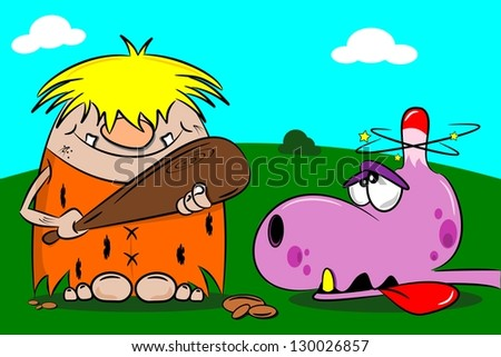 Cartoon caveman out hunting with wooden club and stunned dinosaur - stock photo