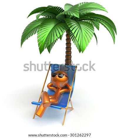 Cartoon character chilling beach deck chair man relaxing palm tree sunglasses summer comfort stylized golden person sun lounger chaise lounge tourist sunbathing rest vacation holiday icon 3d render - stock photo