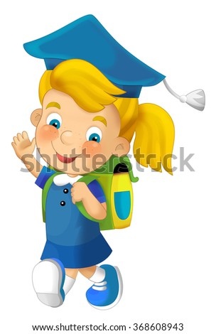 Cartoon character - girl - isolated - illustration for the children - stock photo