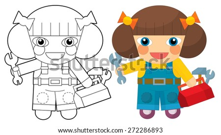 Cartoon character - girl mechanic - coloring page - illustration for the children - stock photo