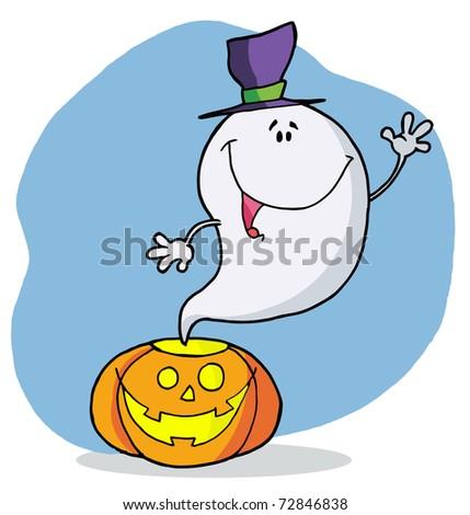 Cartoon character happy ghost pumpkin leaves - stock photo