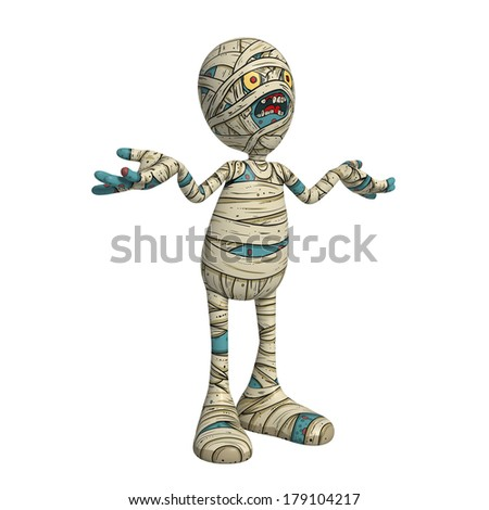 Cartoon character illustration of Scary Mummy Monster for Halloween confused - stock photo