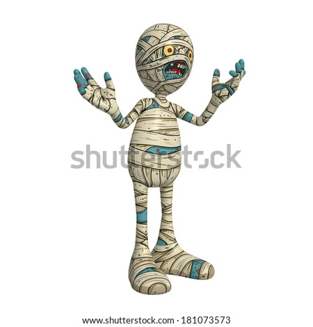 Cartoon character illustration of Scary Mummy Monster for Halloween happily explaining something - stock photo