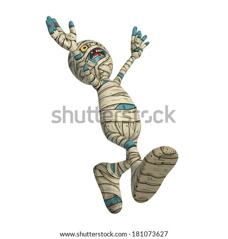 Cartoon character illustration of Scary Mummy Monster for Halloween running around in joy and laughter - stock photo