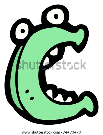 cartoon character letter c - stock photo