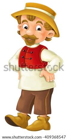 Cartoon character - male farmer - isolated - illustration for children - stock photo