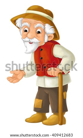 Cartoon character - male farmer - old man - isolated - illustration for children - stock photo
