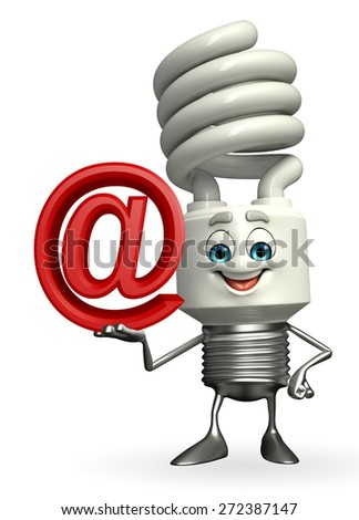 Cartoon Character of CFL with at the rate sign - stock photo