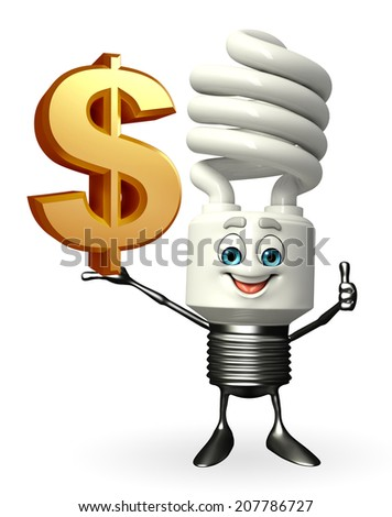 Cartoon Character of CFL with dollar sign - stock photo