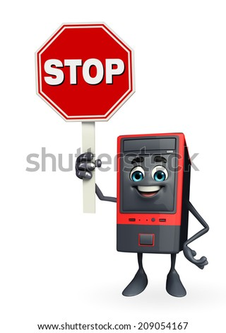Cartoon Character of Computer Cabinet  - stock photo