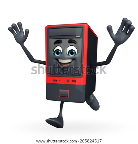 Cartoon Character of Computer Cabinet is running - stock photo