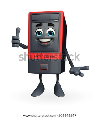 Cartoon Character of Computer Cabinet with best sign - stock photo