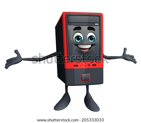 Cartoon Character of Computer Cabinet with happy pose - stock photo