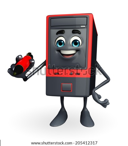 Cartoon Character of Computer Cabinet with pen - stock photo