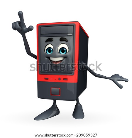 Cartoon Character of Computer Cabinet with pointing pose - stock photo