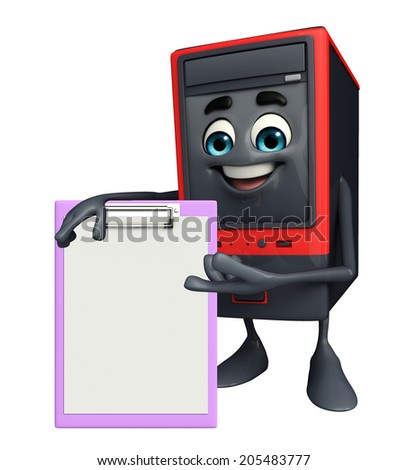 Cartoon Character of Computer Cabinet with stop sign - stock photo