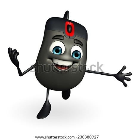 Cartoon Character of Computer Mouse is running - stock photo