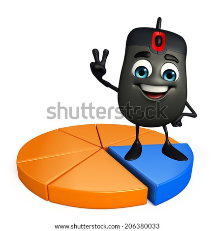 Cartoon Character of Computer Mouse with Business graph - stock photo