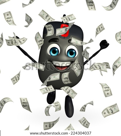 Cartoon Character of Computer Mouse with dollars - stock photo