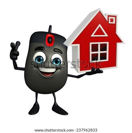 Cartoon Character of Computer Mouse with home - stock photo