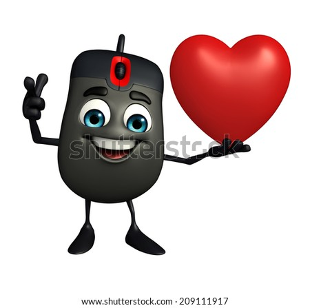 Cartoon Character of Computer Mouse with red heart - stock photo