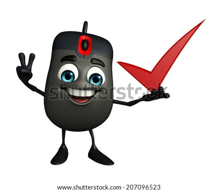 Cartoon Character of Computer Mouse with right sign - stock photo