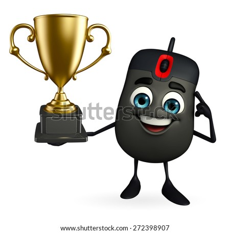 Cartoon Character of Computer Mouse with trophy - stock photo