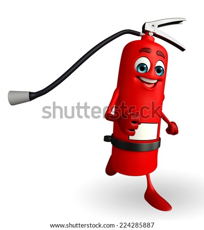 Cartoon Character of fire extinguisher is running - stock photo
