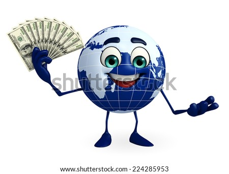 Cartoon Character of Globe with dollars - stock photo