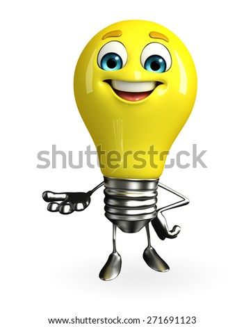 Cartoon Character of light bulb with holding pose - stock photo