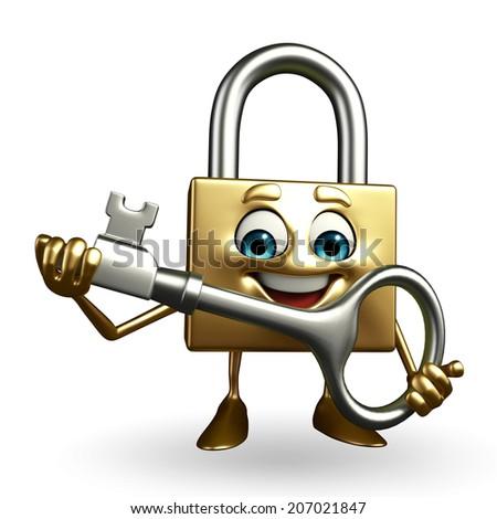 Cartoon Character of lock with key  - stock photo