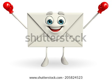 Cartoon Character of mail with Boxing Gloves - stock photo