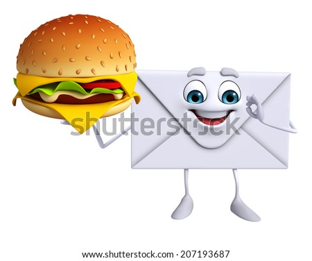 Cartoon Character of mail with burger - stock photo
