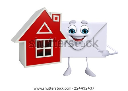 Cartoon Character of mail with home - stock photo