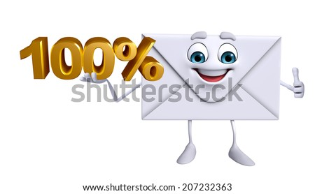 Cartoon Character of mail with Percentage sign - stock photo