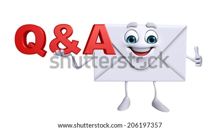 Cartoon Character of mail with Q&A - stock photo