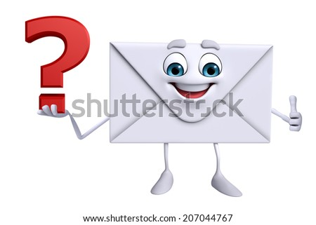 Cartoon Character of mail with question mark - stock photo