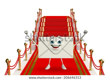 Cartoon Character of mail with red carpet   - stock photo