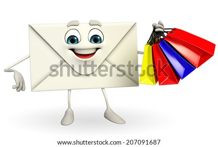 Cartoon Character of mail with shopping bag - stock photo