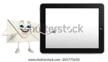 Cartoon Character of mail with tab - stock photo